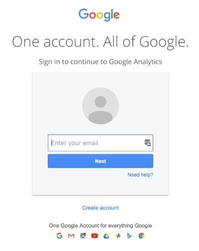 Google Analytics Tilmelding