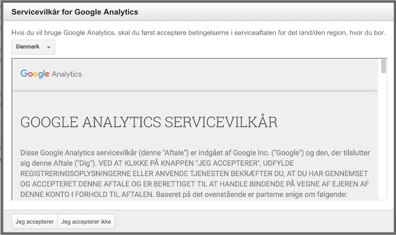 Google Analytics Servicevilkår