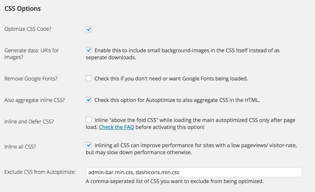 Autoptimize CSS Indstillinger